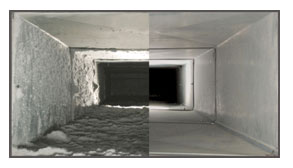 before and after cleaning view of a duct.